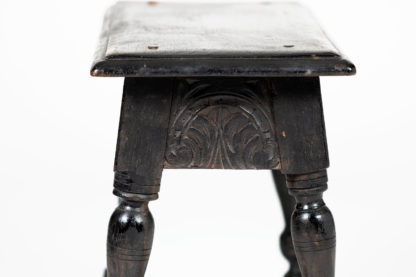 Ebonized Carved Oak Joint Stool, English Circa 1880. Garden Court Antiques, San Francisco