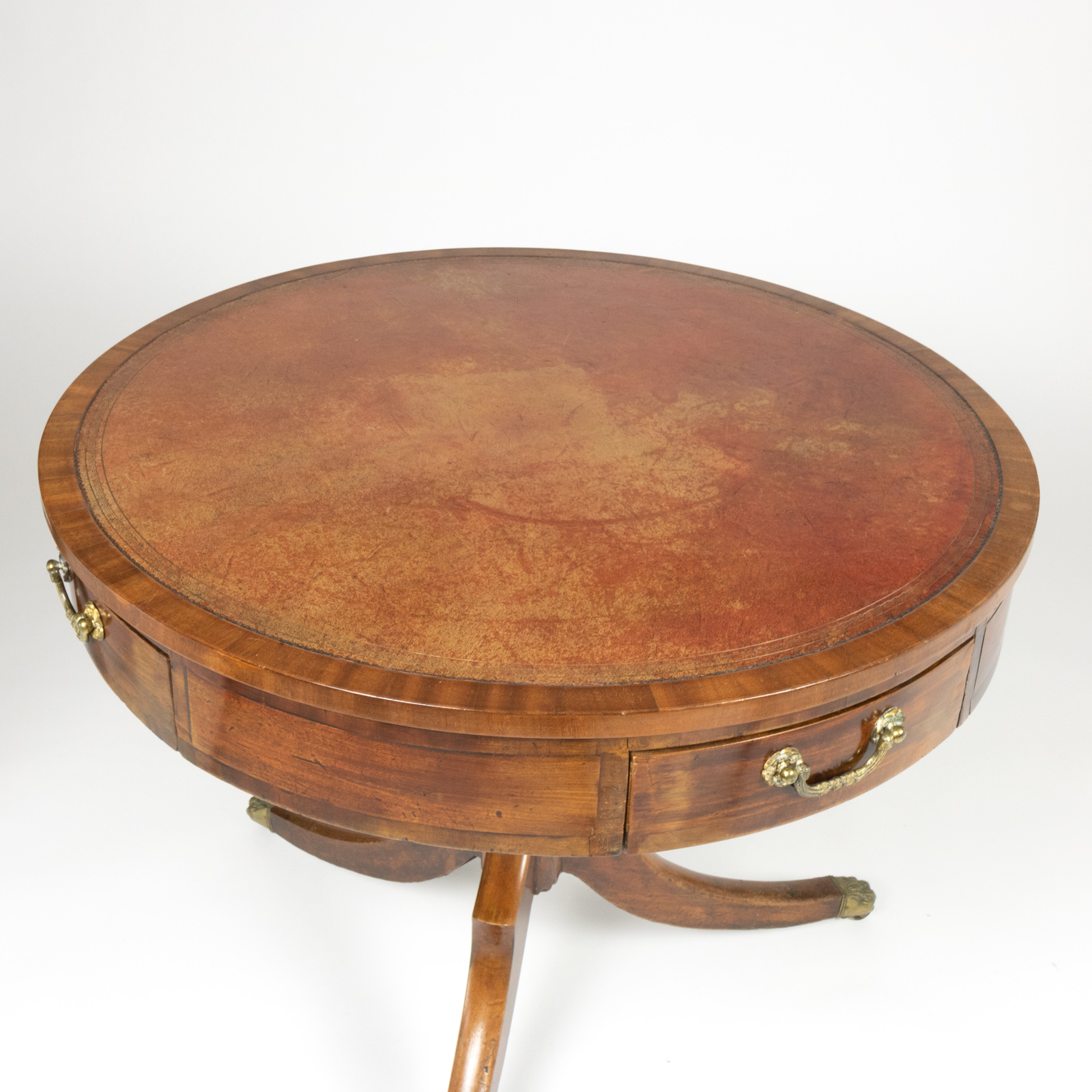 Regency Period Mahogany Drum Table With Embossed Leather Inset And Lion Paw  Casters, English Circa