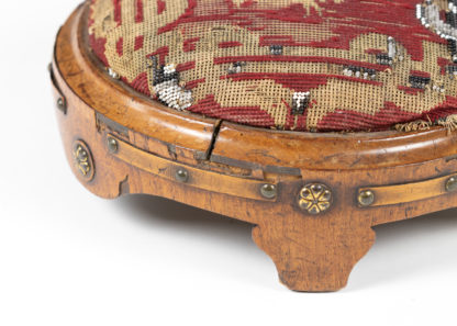 Near Pair Of Charming Round Upholstered Walnut Foot Stools, French Circa 1800 Garden Court Antiques, San Francisco