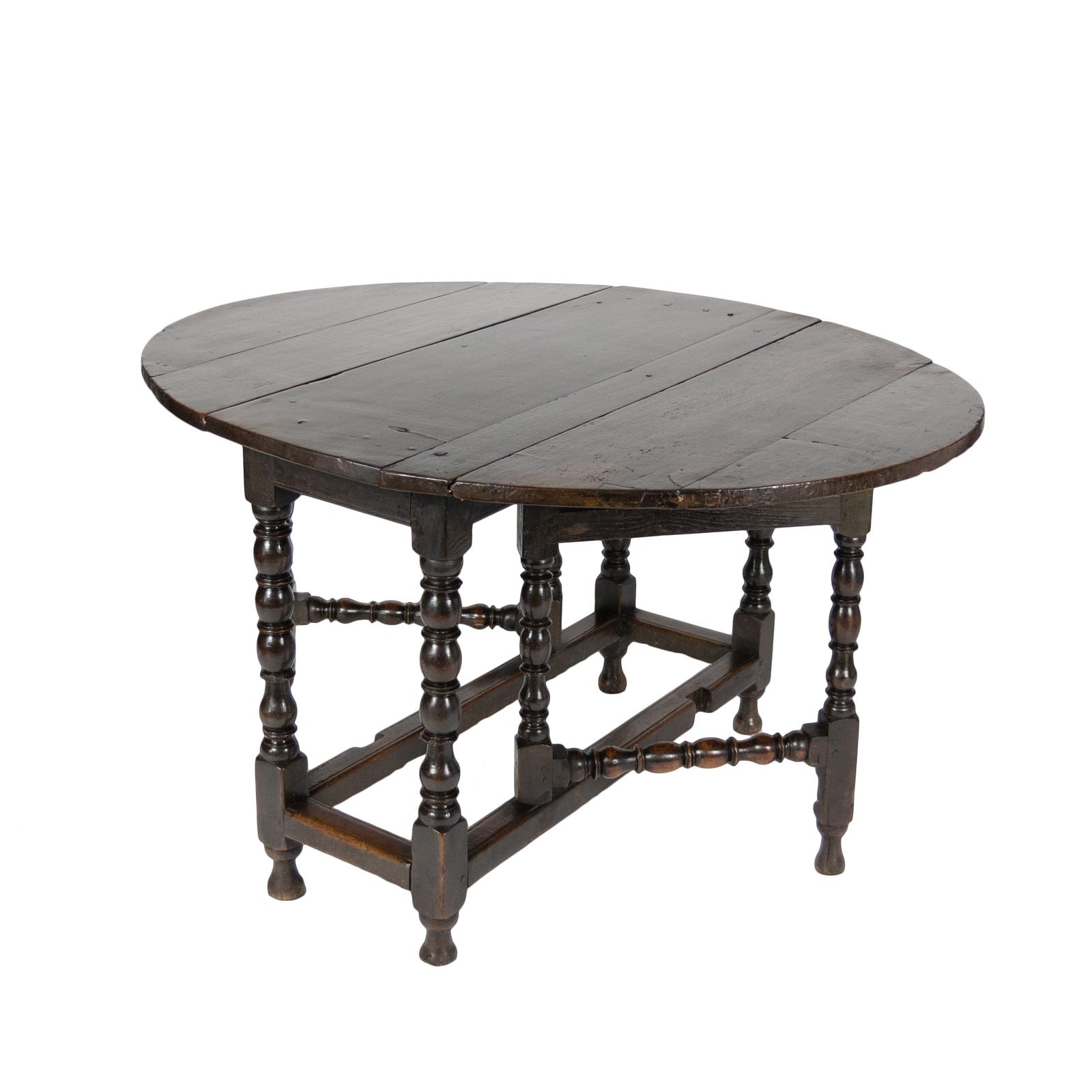 Handsome English Oak Gateleg Table With Bobbin Turned Legs, Wonderfully  Rich Patination, Circa 1800
