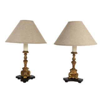Pair Of Small Scale Carved Giltwood Pricket Sticks, French Circa 1780 Mounted And Wired As Table Lamps With Custom Shades. Garden Court Antiques, San Francisco