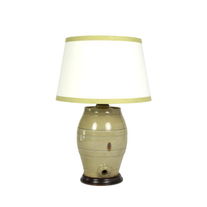 Pale Green Glazed Spirit Barrel, English Circa 1880 Mounted And Wired As A Table Lamp With Linen Shade Garden Court Antiques, San Francisco