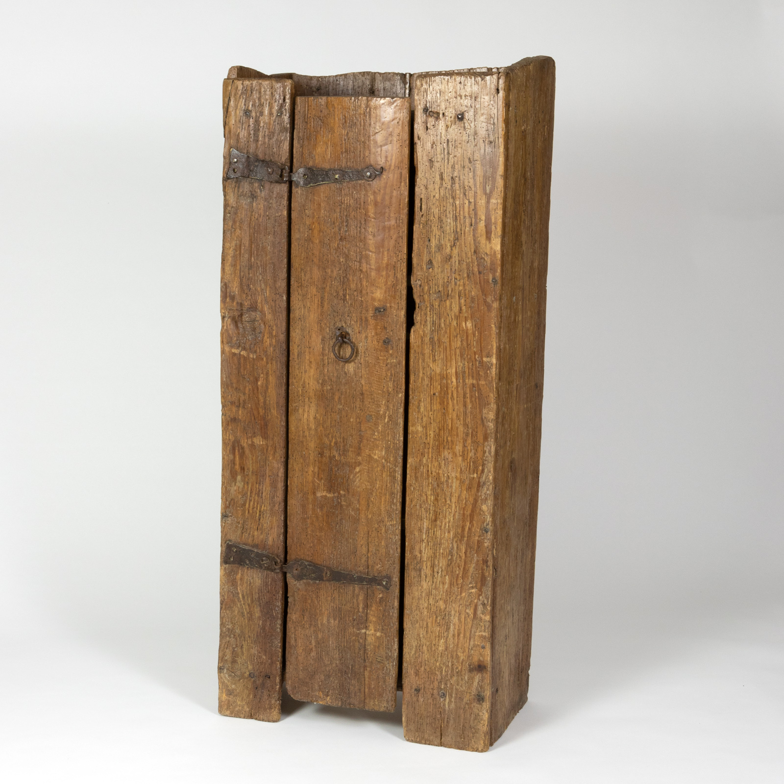 Very Rustic Italian Chestnut Single Door Cabinet With Wrought Iron Hinges,  Circa 1720