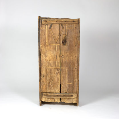 Very Rustic Italian Chestnut Single Door Cabinet With Wrought Iron Hinges, Circa 1720. Garden Court Antiques, San Francisco