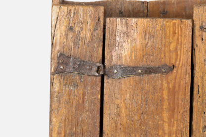 Hand forged wrought Iron strap hinge on a Very Rustic Italian Chestnut Single Door Cabinet With Wrought Iron Hinges, Circa 1720. Garden Court Antiques, San Francisco