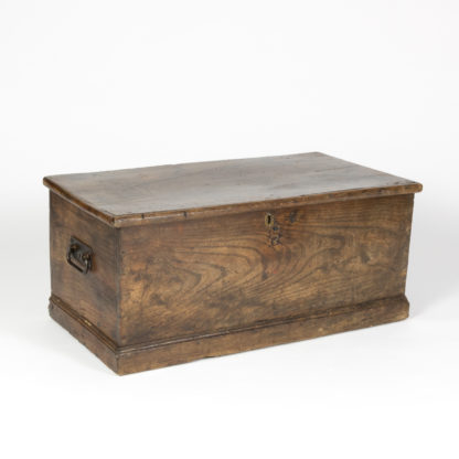 Garden Court Antiques, San Francisco English Trunk With Overscale Iron Hinges, English Circa 1860