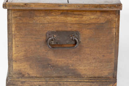 Iron handle on an antique English Trunk With Overscale Iron Hinges, English Circa 1860 Garden Court Antiques, San Francisco
