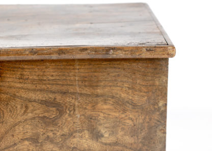 Top Corner of Vintage English Trunk With Overscale Iron Hinges, English Circa 1860 Garden Court Antiques, San Francisco
