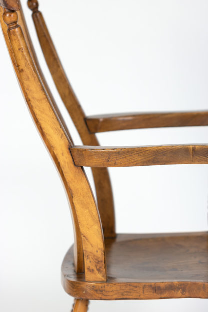 English Elm Vertical Slat back armchair circa 1890 with turned legs and H-stretcher Garden Court Antiques, San Francisco