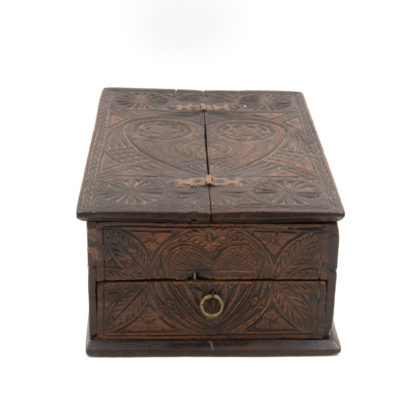 A 17th Century Carved Oak Box With Side Drawer Dated 1655.. Garden Court Antiques, San Francisco