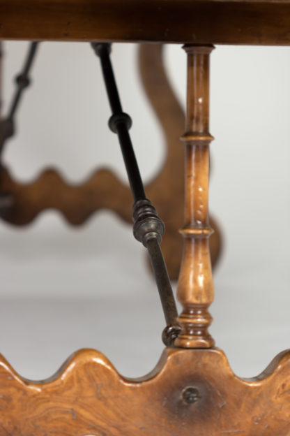 An Impressive Italian Burl Ash and Walnut Trestle Table with Harp-Shaped Bases and Wrought Iron Stretcher, Circa 1880