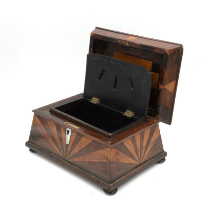 Lovely Pagoda Shape Box With Sunburst Marquetry, English, Circa 1850. Garden Court Antiques, San Francisco