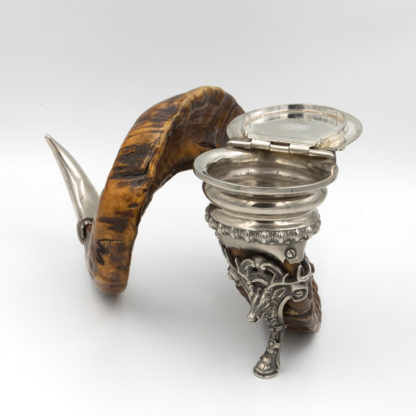 Handsome Rams Horn Snuff Mull; with Mastiff Finial, Stag Head Leg and Silver Scottish circa 1900