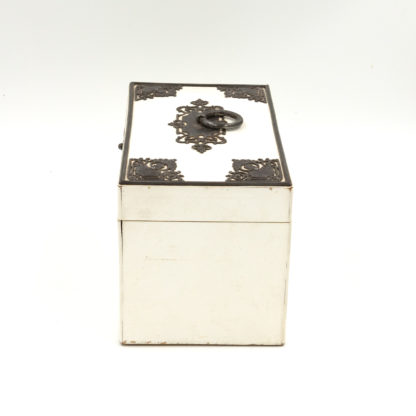 \Elegant Painted English Victorian Period Tea Caddy With Elaborate Metalwork, Circa 1890. Garden Court Antiques, San Francisco