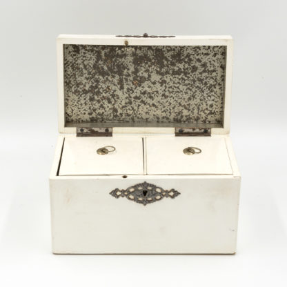 Elegant Painted English Victorian Period Tea Caddy With Elaborate Metalwork, Circa 1890. Garden Court Antiques, San Francisco