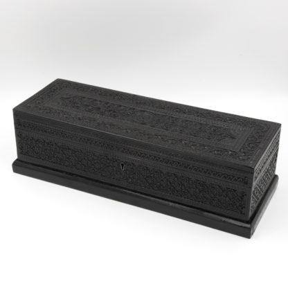 Anglo Indian Intricately Carved Solid Ebony Glove Box, Ceylon, Circa 1850.