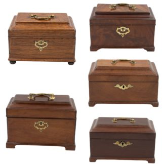 Collection of 5 Similar Georgian Boxes; English 1780 - 1810. Box 000 composite - Garden Court Antiques, San Francisco