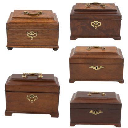 Collection of 5 Similar Georgian Boxes; English 1780 - 1810. Box 000 composite - Garden Court Antiques, San Francisco