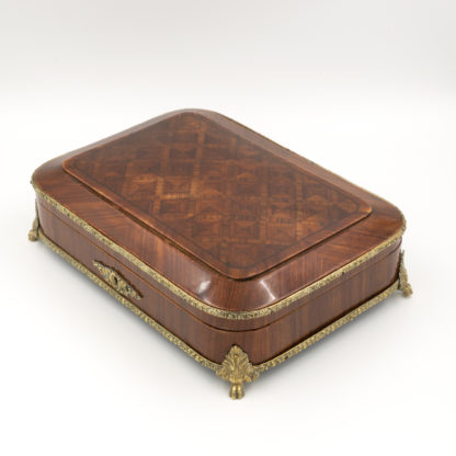 Kingwood Box With Parquetry Top And Gilt Bronze Ormolu Edging Detail, Goat Hoof Feet, Lined In Blue Silk, Working Lock And Key, French Circa 1850. Garden Court Antiques, San Francisco