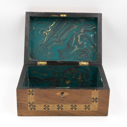 Tunbridge Ware Box With Rounded Upper Edges and Mosaic Inlays of Ebony and Fruitwood, English, Circa 1880.. Garden Court Antiques, San Francisco