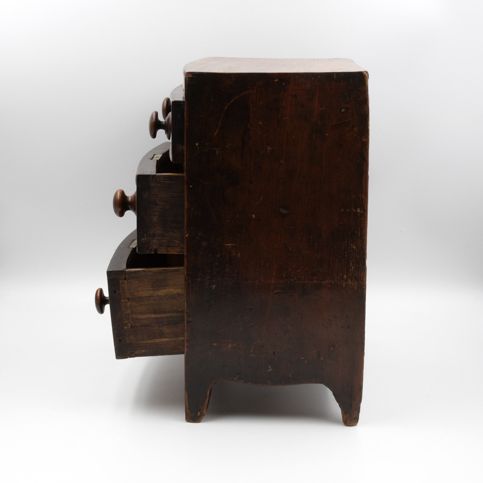 Antique Miniature Bow Front Chest Of Drawers 1850 415