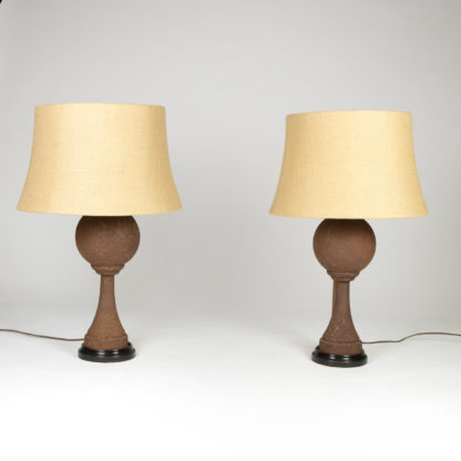 Pair Of Iron Ball Finials Now Mounted as Table Lamps, French, Circa 1870.. Garden Court Antiques, San Francisco
