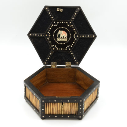 Pair of Ebony and Porcupine Quill Hexagonal Boxes, Ceylon, Circa 1880