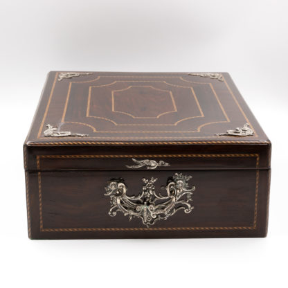 Rosewood Document Box With Inlay Banding & Sterling Silver Accents, Scotland, Circa 1850.. Garden Court Antiques, San Francisco