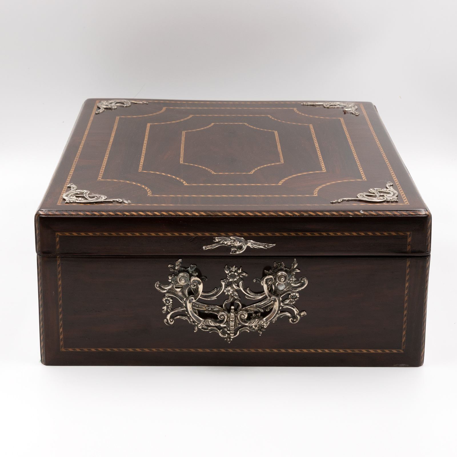 exceptional antique rosewood document box w sterling silver accents