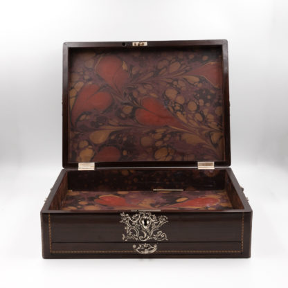 interior of Rosewood Document Box With Inlay Banding & Sterling Silver Accents, Scotland, Circa 1850.. Garden Court Antiques, San Francisco