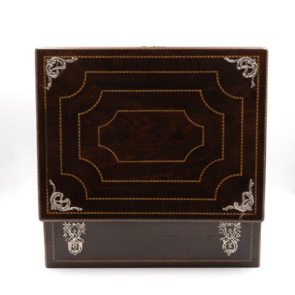 top with inlay banding on a Rosewood Document Box With Inlay Banding & Sterling Silver Accents, Scotland, Circa 1850.. Garden Court Antiques, San Francisco