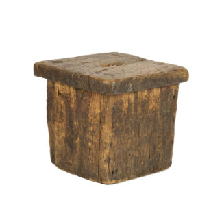 Small Rustic Square Oak Stool With Pierced Top, English Circa 1800. Garden Court Antiques, San Francisco