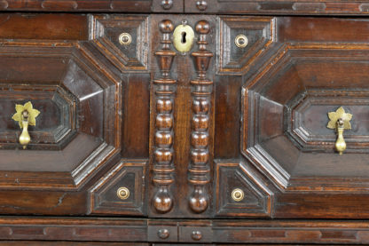 Anglo-Dutch Oak Moulded Front Two-part Chest With Geometric Applied Mouldings And Ebonized Panels Garden Court Antiques, San Francisco