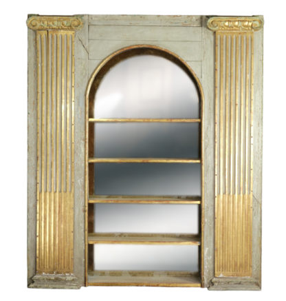 Whimsical Painted Italian Architectural Element Fitted As A Bookshelf With Gilded Ionic Columns, Circa 1820. Garden Court Antiques, San Francisco