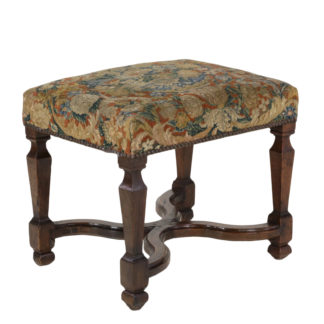 Carved French Walnut Upholstered Stool With Curved Cross Stretcher In Floral Tapestry With Nailhead Trim, French, Circa 1800 - Garden Court Antiques, San Francisco