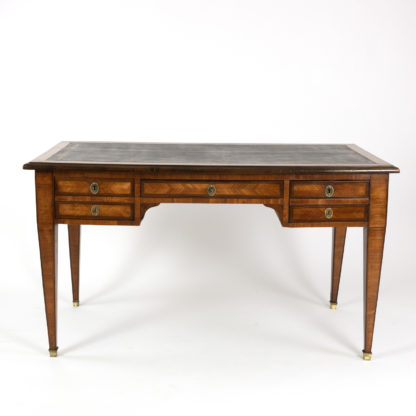 French Neoclassic Style Tulipwood And Kingwood Bureau Plat With Embossed Black Leather Top, French Circa 1870 Garden Court Antiques, San Francisco