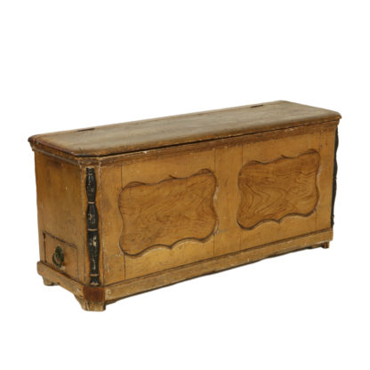 Ochre Painted Danish Coffer With Hinged Top And Small Side Drawer, Ebonized Columns On The Front Corners, Denmark Circa 1860. Garden Court Antiques, San Francisco