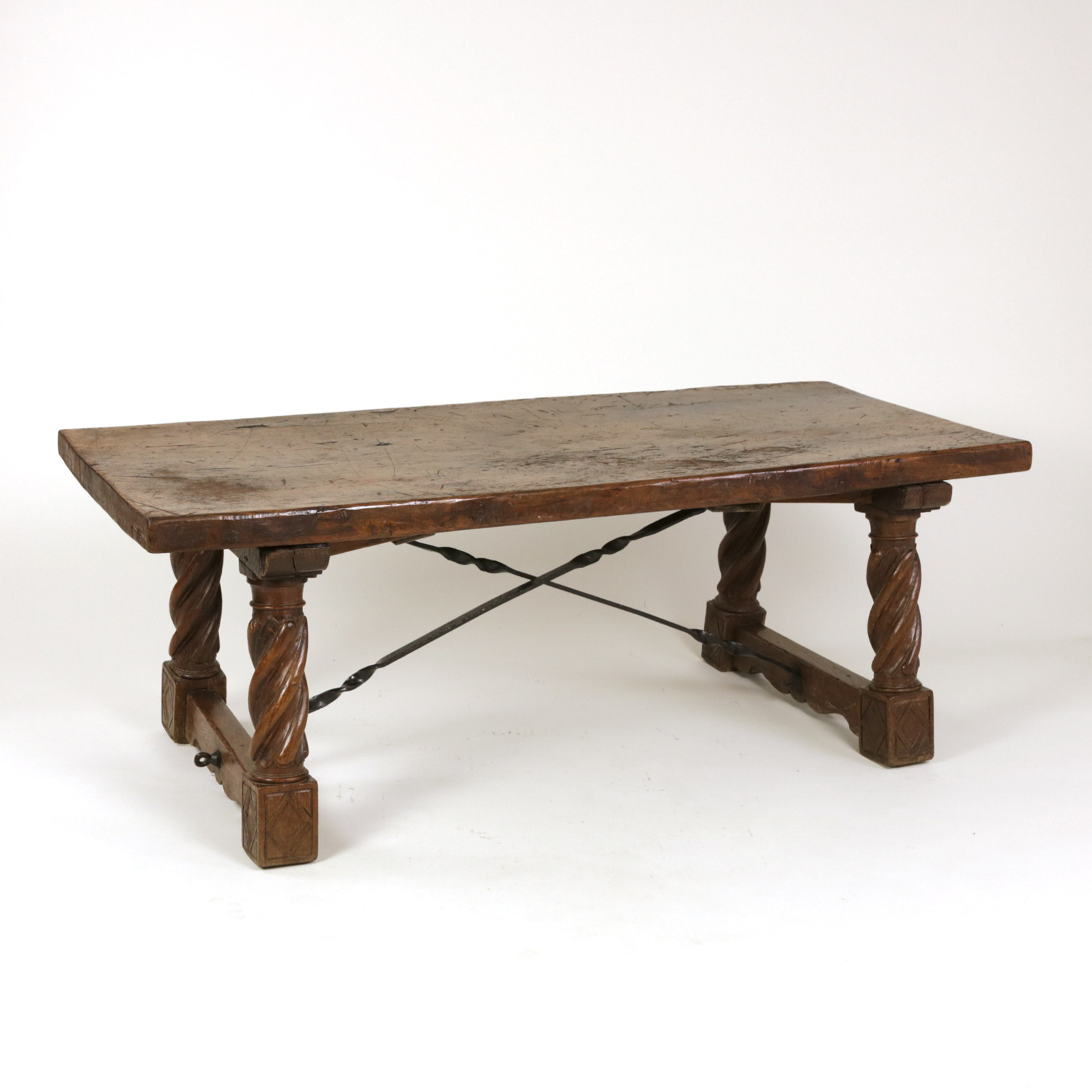 Italian Walnut Low Table With Carved Barley Twist Legs And Twisted Iron Cross Stretchers Circa