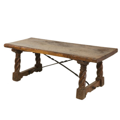 Italian Walnut Low Table With Carved Barley Twist Legs And Twisted Iron Cross Stretchers, Circa 1800 Garden Court Antiques, San Francisco