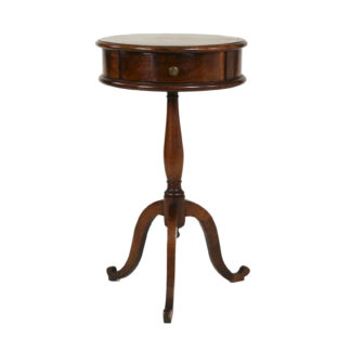 Round Richly Patinated Fruitwood Pedestal Table With Tripod Base And Single Drawer; French, Circa 1890. Garden Court Antiques, San Francisco