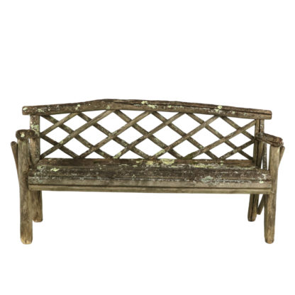 Rustic Garden Bench With Lattice Back And Traces Of Old Paint And Lichen, English, Circa 1900 Garden Court Antiques, San Francisco