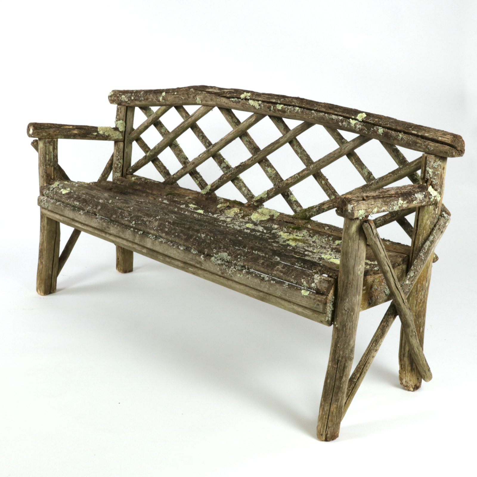 Beau Rustic Garden Bench With Lattice Back And Traces Of Old Paint And Lichen,  English,