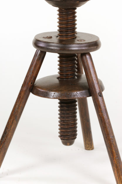 Oak Three Legged Adjustable Artist Stool, English, Circa 1870 - Garden Court Antiques, San Francisco