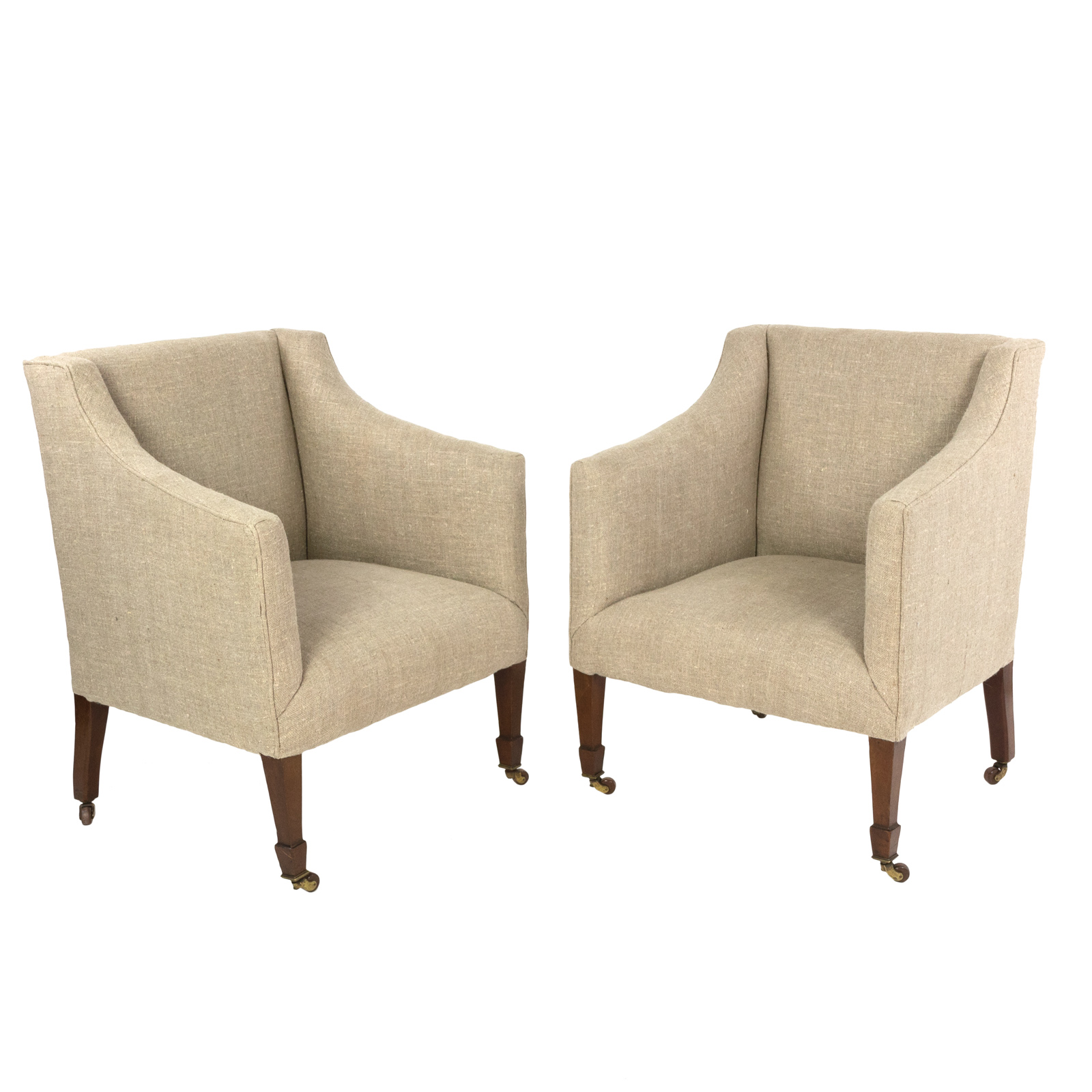 Vintage Pair Of Petite Mahogany Framed Art Deco Arm Chairs, Circa 1930  Garden Court Antiques