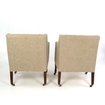 Vintage Pair Of Petite Mahogany Framed Art Deco Arm Chairs, Circa 1930 Garden Court Antiques, San Francisco
