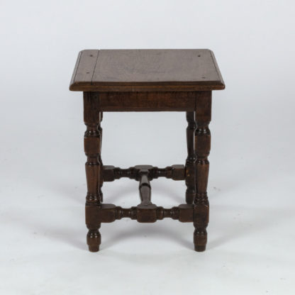 English Oak Square Stool With Turned Legs And H-Stretcher, Circa 1890 Garden Court Antiques, San Francisco