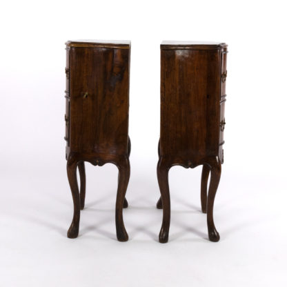 profile view of Pair Of Italian Walnut Bedside Tables With Carved And Ebonized Details, Each With Faux Drawer Front Single Doors, Circa 1890 Garden Court Antiques, San Francisco