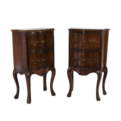 Pair Of Italian Walnut Bedside Tables With Carved And Ebonized Details, Each With Faux Drawer Front Single Doors, Circa 1890 Garden Court Antiques, San Francisco