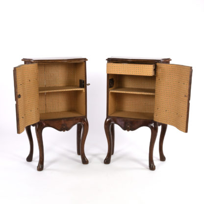 colorful lined interiors of Pair Of Italian Walnut Bedside Tables With Carved And Ebonized Details, Each With Faux Drawer Front Single Doors, Circa 1890 Garden Court Antiques, San Francisco
