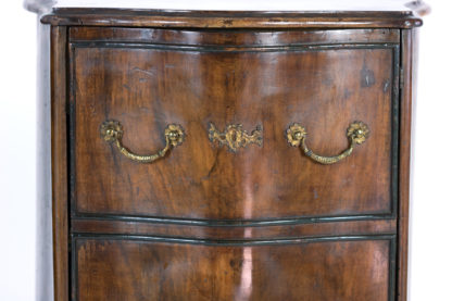 faux drawer on this Pair Of Italian Walnut Bedside Tables With Carved And Ebonized Details, Each With Faux Drawer Front Single Doors, Circa 1890 Garden Court Antiques, San Francisco